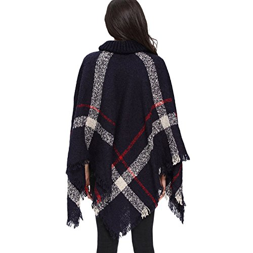 High Tops o Pullover Abrigo Oto de Chaqueta mujer y alto Outwear flecos Casual Azul punto cuello Invierno Poncho con de aTzAq6x