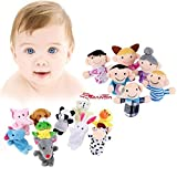 16 Pack Finger Puppet Set - MANSA 10 Animals + 6 People Family Members Educational Toys for Children, Story Time, Shows, Playtime, Schools (Multicolor)