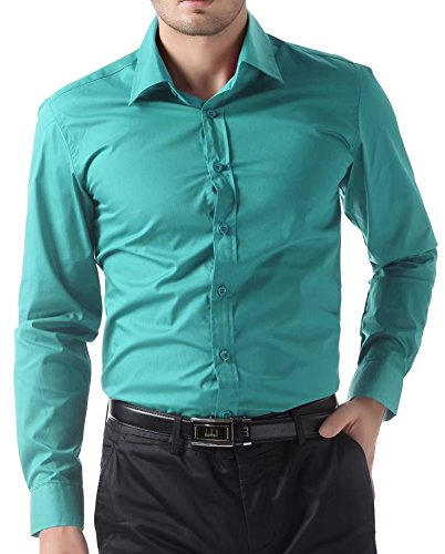 Turquoise Blue Dress - Durable Mens Casual Long Sleeve Dress Shirts (S, Turquoise 52)