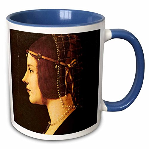 3dRose BLN Leonardo da Vinci Collection - Portrait of Beatrice DEste by Leonardo da Vinci 1491-15oz Two-Tone Blue Mug (mug_126662_11)