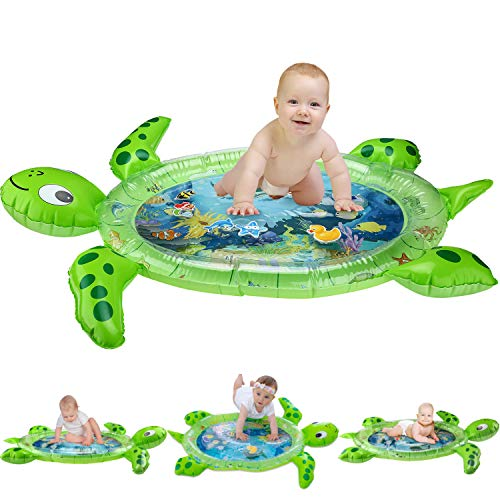 gebra Inflatable Tummy Time Water Mat Sea Turtle Shape Infants & Toddlers Play Mat Toy, Fun Play Activity Center Your Baby