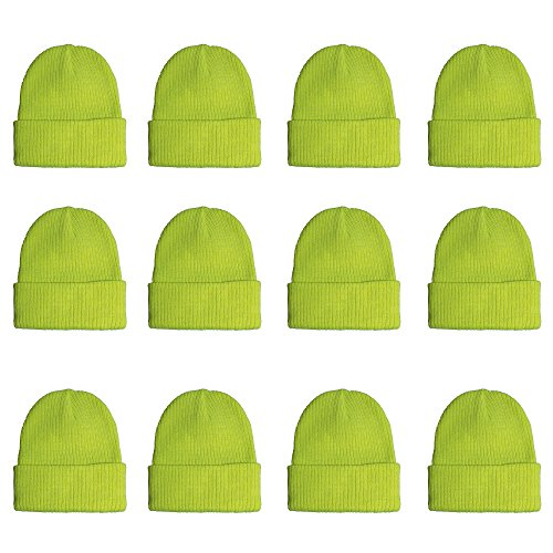 Gelante Unisex Beanie Cap Knitted Warm Solid Color and Multi-Color Multi-Packs (12 Pack: Glitter Neon Yellow Green) (Cuffed Hat Green Knit)