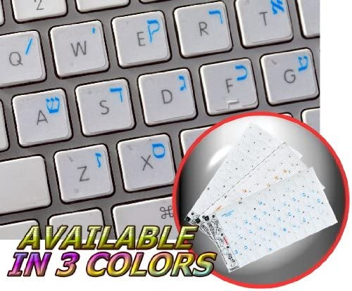 MacBook Air//Pro Mac Hebrew Keyboard Stickers for Laptop Desktop PC Computer Keyboard Decals with red Letters on Transparent Background, Best Hebrew Keyboard Cover, Skin, or Overlay Alternative