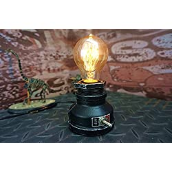 """Y-Nut Loft Style Lamp,""""Corporal Black"""" Steampunk Industrial Vintage Style, Water Pipe Table Desk Light with Dimmer, Aged Rustic Metal (Black)"""