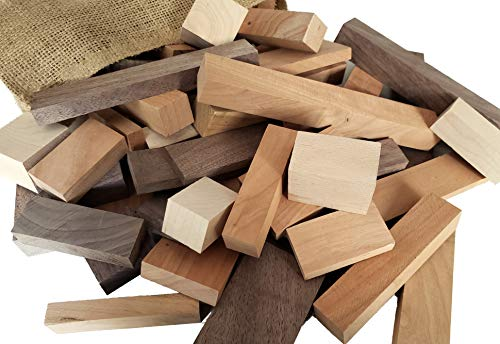 Wooden Blocks, 5 Pounds of Premium Hardwood in Assorted Sizes, Natural ()