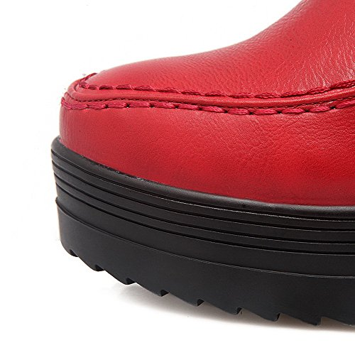 High Heels Boots Low Toe Round PU Solid Closed Red top AgooLar Women's qRTwY0