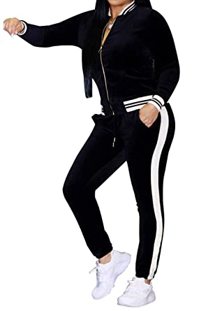 018adc59b98b1 ZerMom Women s Casual 2 Pieces Outfits Jumpsuits Long Sleeve Top Pants Sets  Bodycon Sweatsuits Tracksuits Black