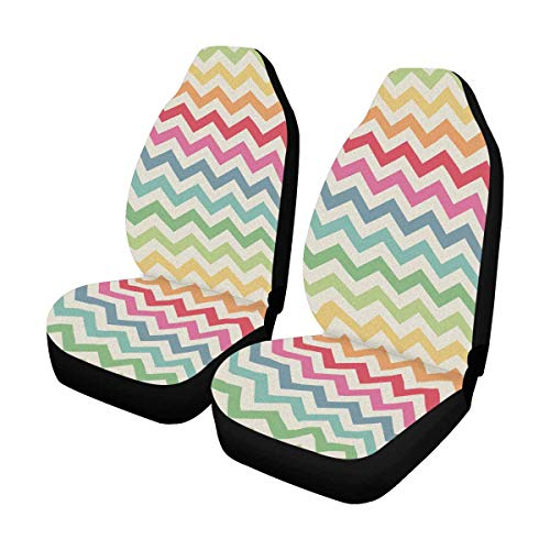 (INTERESTPRINT Cute Retro Chevron Rainbow Colors Auto Seat Covers Full Set of 2, Vehicle Seat Protector Fit Car, Truck, SUV,Van)