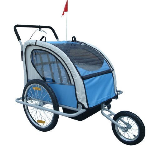 2In1 Double Baby Bike Trailer Jogger Stroller - 1