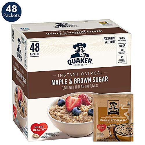 Quaker Instant Oatmeal, Maple & Brown Sugar, 1.51oz Packets (48 Pack) - Instant Oatmeal Hot Cereal