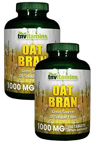 TNVitamins Oat Bran Tablets 1000 Mg | 2 x 250 Count