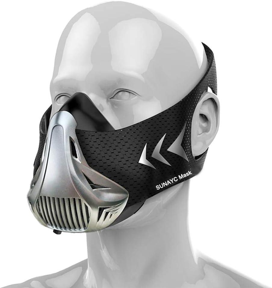 SUNAYC Máscara Entrenamiento, Simulación Alta Altitud Resistencia 6 Niveles Fitness Respiración Mascara para Deportes Gimnasio Resistencia