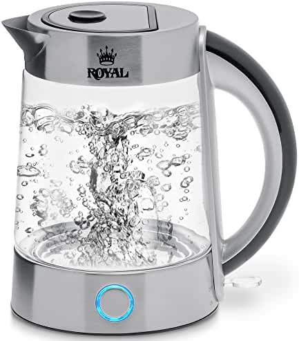 Royal Electric Kettle (BPA Free) - Fast Boiling Glass Tea Kettle (1.7L) Cordless, Stainless Steel Finish