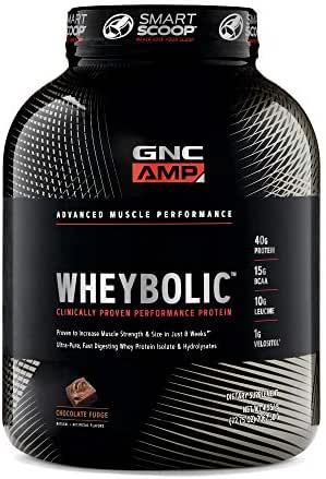 GNC AMP Wheybolic Whey Protein Powder, Chocolate Fudge, 33 Servings, Contains 40 Protein, 15g BCAA, and 10g Leucine Per Serving