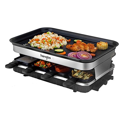 Raclette Grill Electric Grill Plate Non-Stick with 8 Mini Pans Adjustable...