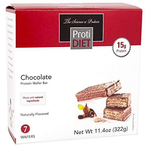 ProtiDiet Protein Wafer Bar - Chocolate (7/Box) - High Protein 15g - Low Sugar (Center For Medical Weight Loss Shake Nutrition)