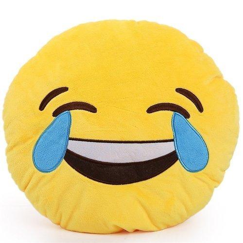 [Emoji Smiley Face Emoticon Cushion Pillow Stuffed Plush Toy Doll, Tears of Joy Face] (Smiley Movie Mask)