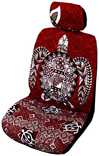 Red Big Honu Hawaiian Separate Headrest Car Seat Cover; Made in Hawaii - Set of 2