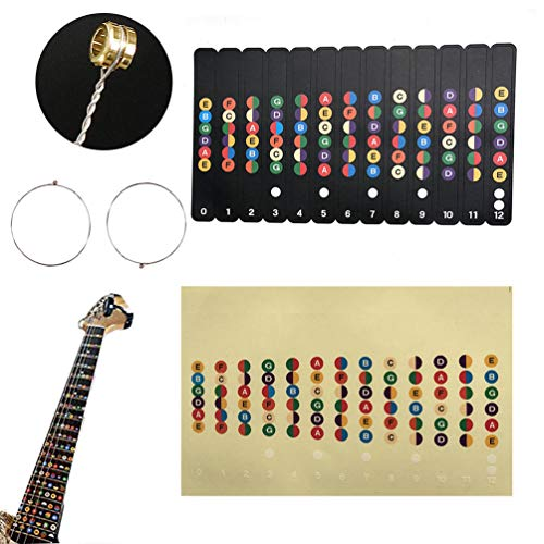 ticker and Electric Guitar Single String 1st/E -.009'',2nd/B -.011'' for Beginner Lesson Training, Color Map Decal Learning of Guitar (2 Pack) ()