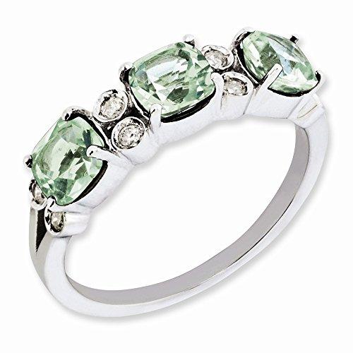 Cushion Diamond Bow Ring Cut (Cushion Green Quartz & 1/10 Ctw (H-I, I2-I3) Diamond Sterling Silver Ring Size 7)