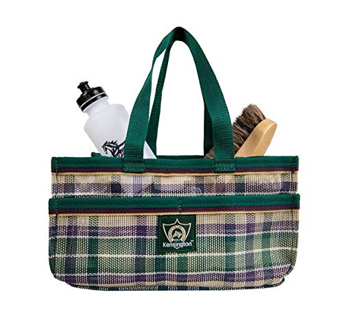 Kensington Horse Grooming Tote Bag - Handy Upright Stow Away in Vibrant Plaid Designs - Durable with Lots of Storage Compartments - 12