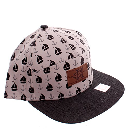 City Hunter White Sailboat & Anchor Print Snapback