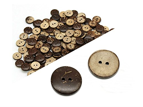 - AKOAK 100 Pieces Natural Coconut Shell Two-Holes Buttons Sewing Accessories Decorative Buttons (20mm)