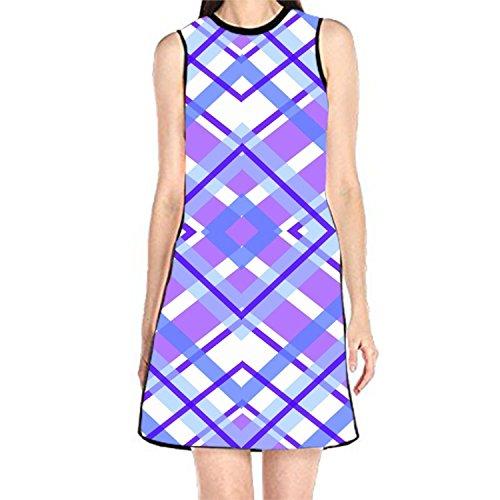 Bobosell Réservoir Ciel Sans Manches Sundress Femmes Impression T-shirt Robe Violette Geometric10