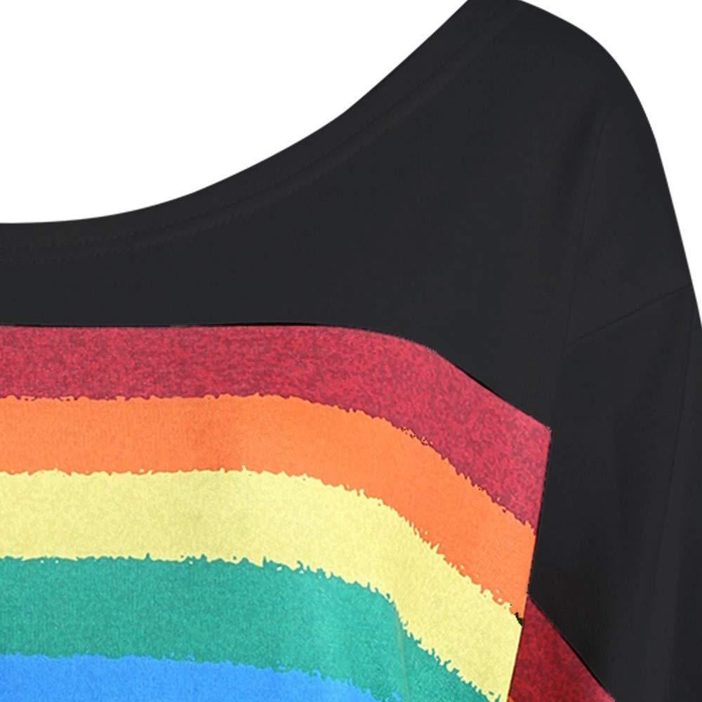 ReooLy Women Casual Loose Long Sleeve Rainbow Print Pullover Blouse Shirts Sweatshirt