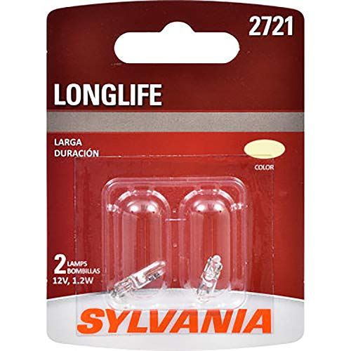 SYLVANIA - 2721 Long Life Miniature - Bulb, Ideal for Interior Lighting - Courtesy, Ash Tray and More. (Contains 2 Bulbs)
