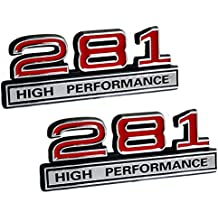 "281 4.6 Liter High Performance Engine Emblems in Chrome & Red Trim - 4"" Long Pair"