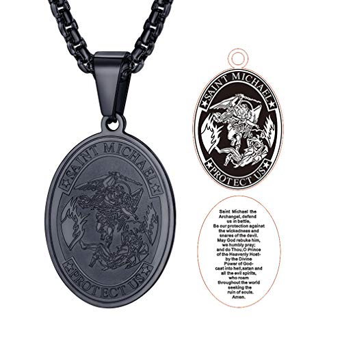 FaithHeart Saint Michael Pendant Necklace, St. Michael The Archangel Necklace Jewelry (Oval/Black)