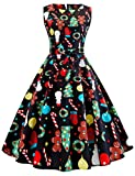 Christmas Dress for Women 50s Vintage Sleeveless Retro Cocktail A- Line Xmas Snowflake Printed Swing Party Dress