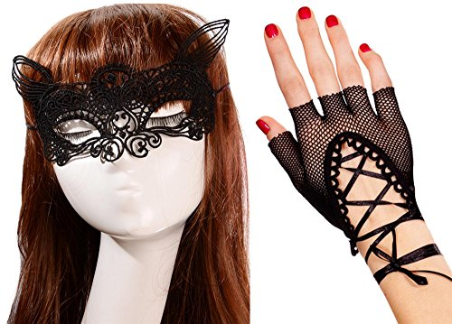 [Anmengte Halloween Masquerade Party Cosplay Costume Accessories Gloves+Eye Mask (One size, 7-2)] (Masquarde Masks)