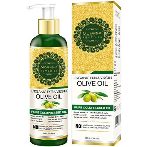 Oil Virgin Hair Treatment Olive Extra (Morpheme Organic Extra Virgin Olive Oil (Pure ColdPressed Oil) For Hair, Body, Skin Care, Massage, Eyelashes 200 ml)