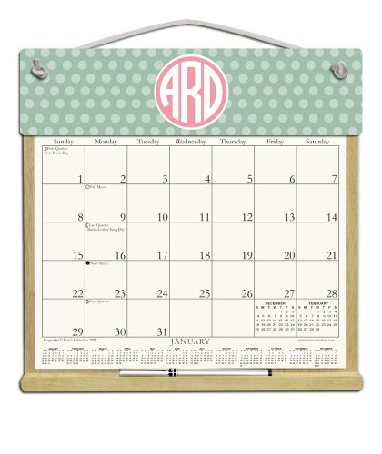 Custom Personalized Monogram Wooden Refillable Wall Calendar Holder filled with a 2018 calendar and an order form for (A-glance Personalized Wall Calendar)