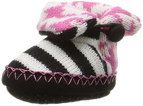 MUK LUKS Baby Slipper Slide, Pink Houndstooth, 18-24 Months M US Infant