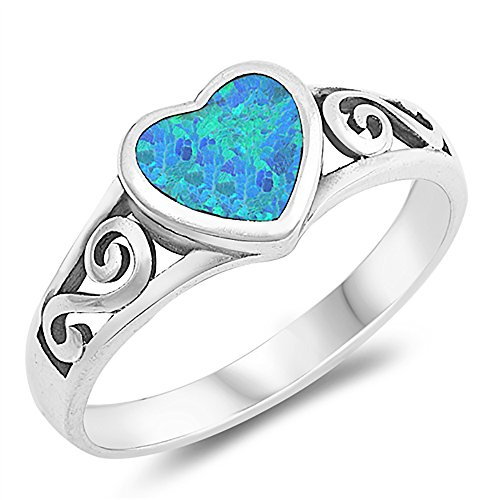 (Sterling Silver Simulated Blue Opal Heart Ladies Ring 8mm (Size 5 to 10), 5)