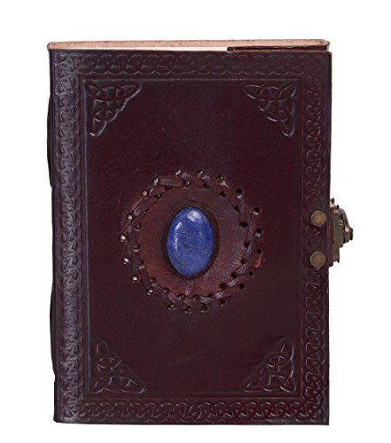 KPL Antique Vintage Handmade Embossed Leather Stone Journal Diary Notebook W/ Clasp Lock & Handmade Paper