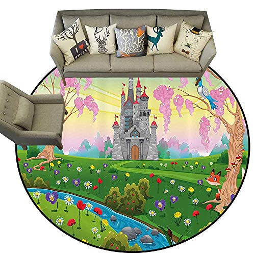 Dining Room Home Bedroom Carpet Floor MatCartoon Decor Fairy Tale Castle Scenery in Floral Garden Princess Kids Girls Fantasy Picture Circle Rugs for Living Room D75 ()