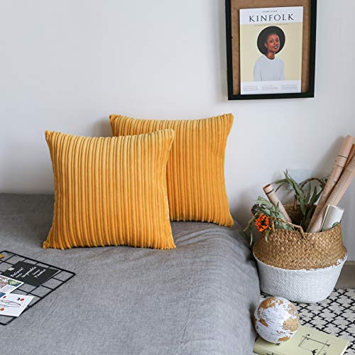 Covers Pillow Decorative Handmade - UGASA Decor Soft Solid Velvet Toss Throw Pillow Cover Fashion Striped Decorative Pillow Case Handmade Cushion Cover for Couch, 2 Pieces, 18x18 inches, Primrose Yellow