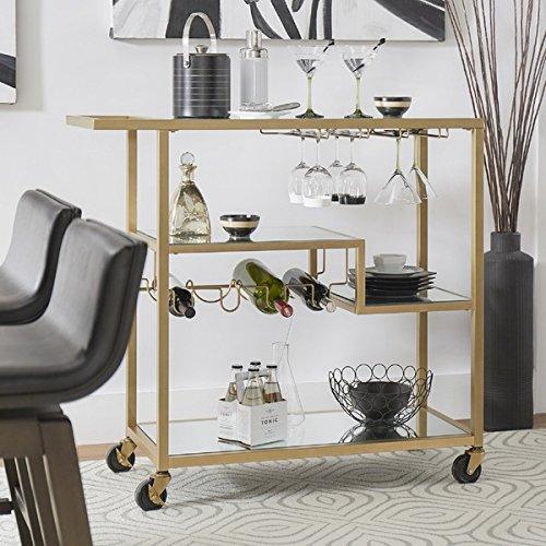 Metropolitan Gold Metal Mobile Bar Cart w/Mirror Glass Top