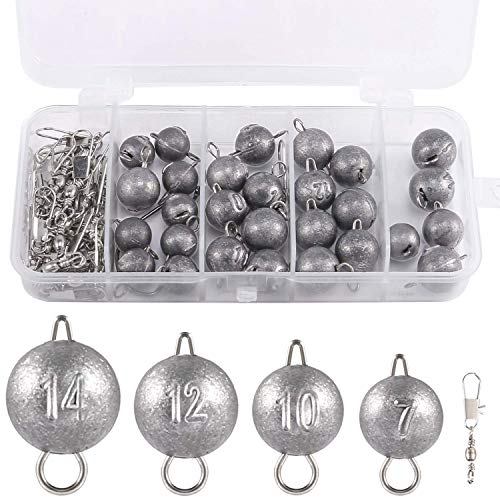 PLUSINNO Cannonball Fishing Weights Sinkers Kit 49pcs, Including 4 Sizes Cannonball, Fishing Swivel Snaps with Free Tackle Box