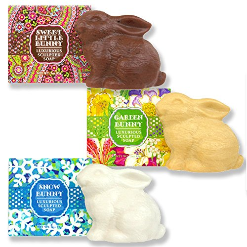 Boxed Bath Set (Greenwich Bay Trading Company Bunny Rabbit Luxurious Shea Butter Sculptured Soap Gift Set (Set of 3))