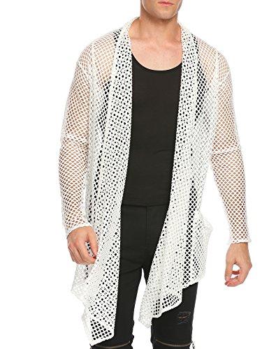 - COOFANDY Men's Ruffle Shawl Collar Sleeveless Long Cardigan Vest (X-Large, White(Long Sleeve net))