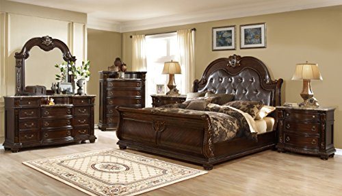 Inland Empire Furniture Dorean Eastern King Size Lauren Honey Brown Cappuccino Solid Wood Bonded Leather Sleigh Bed with Bed Set
