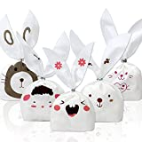 Tomnk 100PCS Halloween Bunny Candy Bags Easter bags Gift Wrap Bags for Party Favors Supplies Rabbit Ear Bags with 100PCS Twist Ties