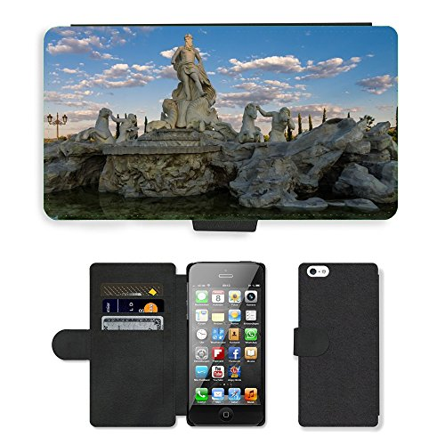 PU Leder Wallet Case Folio Schutzhülle // M00154233 Fontana Trevi Trevi-Brunnen in Rom // Apple iPhone 5 5S 5G SE