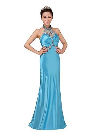 Beauty-Emily Maxi Halter rückenfreie Pailletten Satin Rhinestone ärmellose  Perle gefaltete elegante formale Abendkleider Farbe