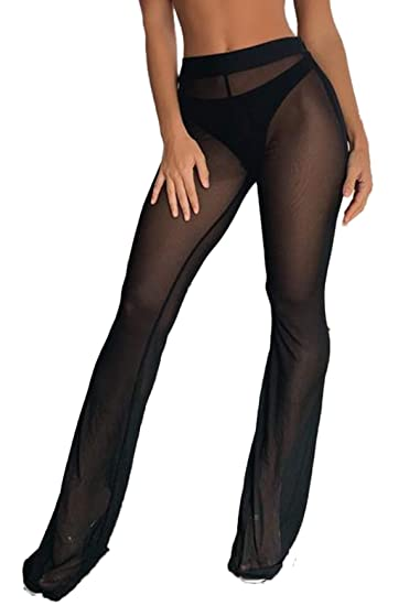 9de00485b1 WenaZao Women's Sexy Perspective Sheer Mesh Pants See Through Bikini Bottom  Cover up Party Clubwear Pants